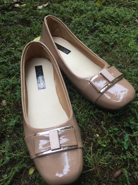 Detail Gambar Rembulan Flatshoes Formal Wanita Mocca Terbaru