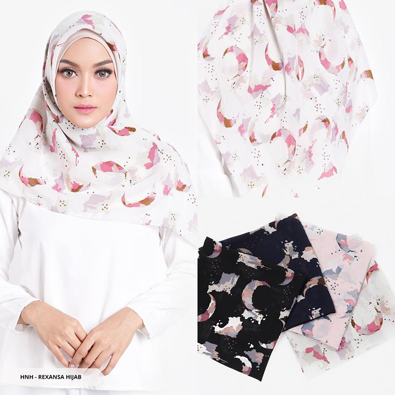 Rexansa Abstract Square Hijab - Nude Pink