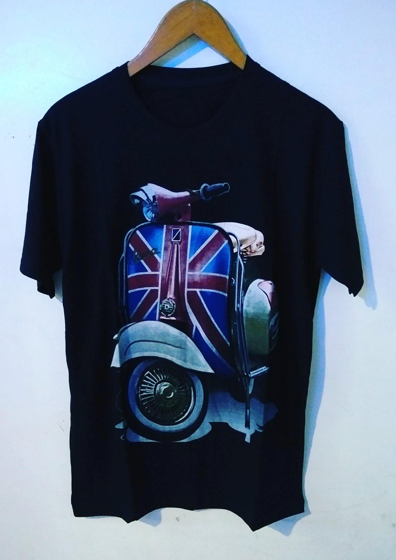 Amazon distro - kaos distro T-shirt  fashion 100% soft  cotton combed 30s kaos pria kaos fashion baju distro T-shirt gambar VESPA  sablon plastisol atasan pria wanita katun marvel simple keren cowok cewek pakaian distro
