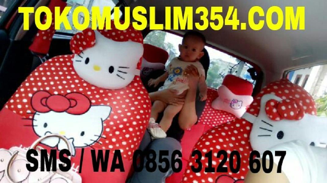 Sarung Jok Bantal Mobil 18 in 1 Hello Kitty Merah Headrest Menyatu (jok 2 baris) Agya Ayla Brio Karimun Wagon