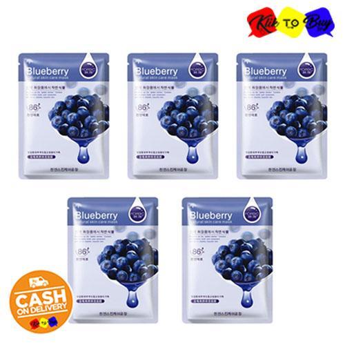 PAKET 5 Pcs - KTB Rorec Blueberry Natural 86% Skin Care Sheet Mask - Masker