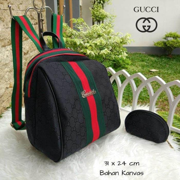 Tas Wanita Ransel Gucci Keren Lagi Hits Hotlist Kanvas Backpack Hitam