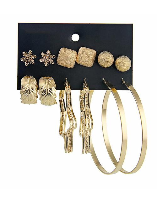 LRC Anting Set Fashion Gold Color Snowflower&star Shape Decorated Earrings (12 Pcs )