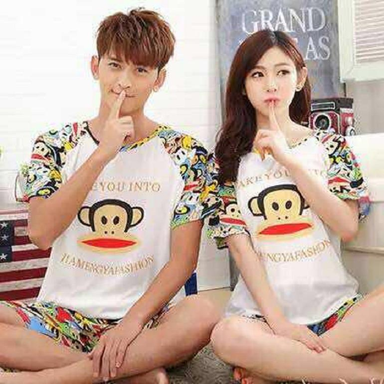 Baju Tidur Couple Piyama White Greens Fity Paull Franks