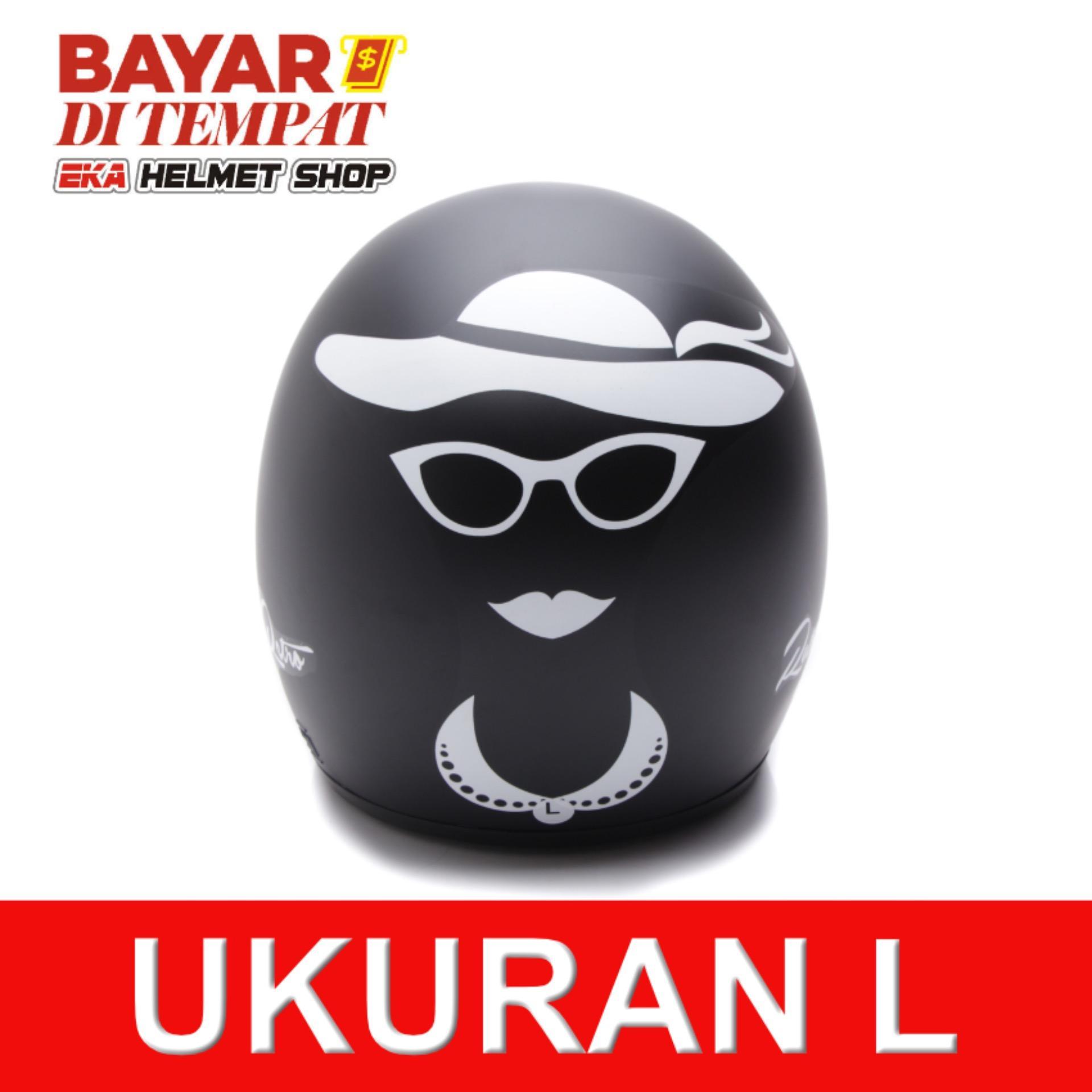 Spesifikasi Wto Helmet Retro Bogo Lady Hitam Doff Dan Harga