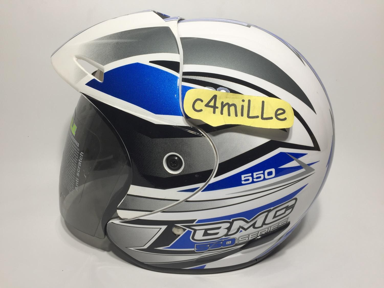 HELM BMC 560R #28 WHITE BLUE HALF FACE 560
