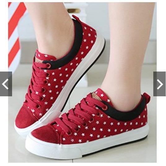 MH18 Sepatu Kets Sneakers Bintang Merah Hitam - Sepatu Wanita - Sepatu Santai