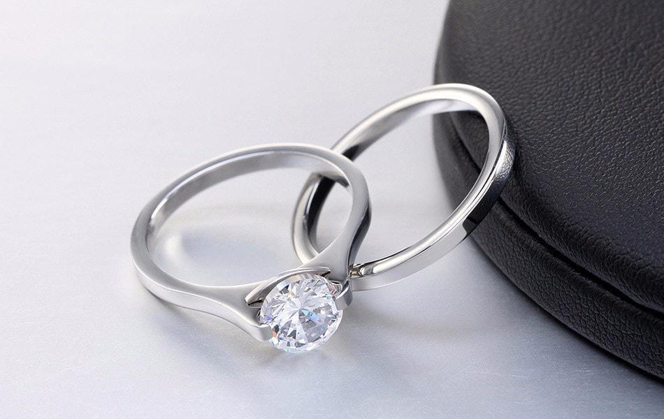 Diskon Promo Perhiasan Aksesoris Set Cincin Silver Stainless Steel Berlian Pria Wanita Couple BR169 Murah