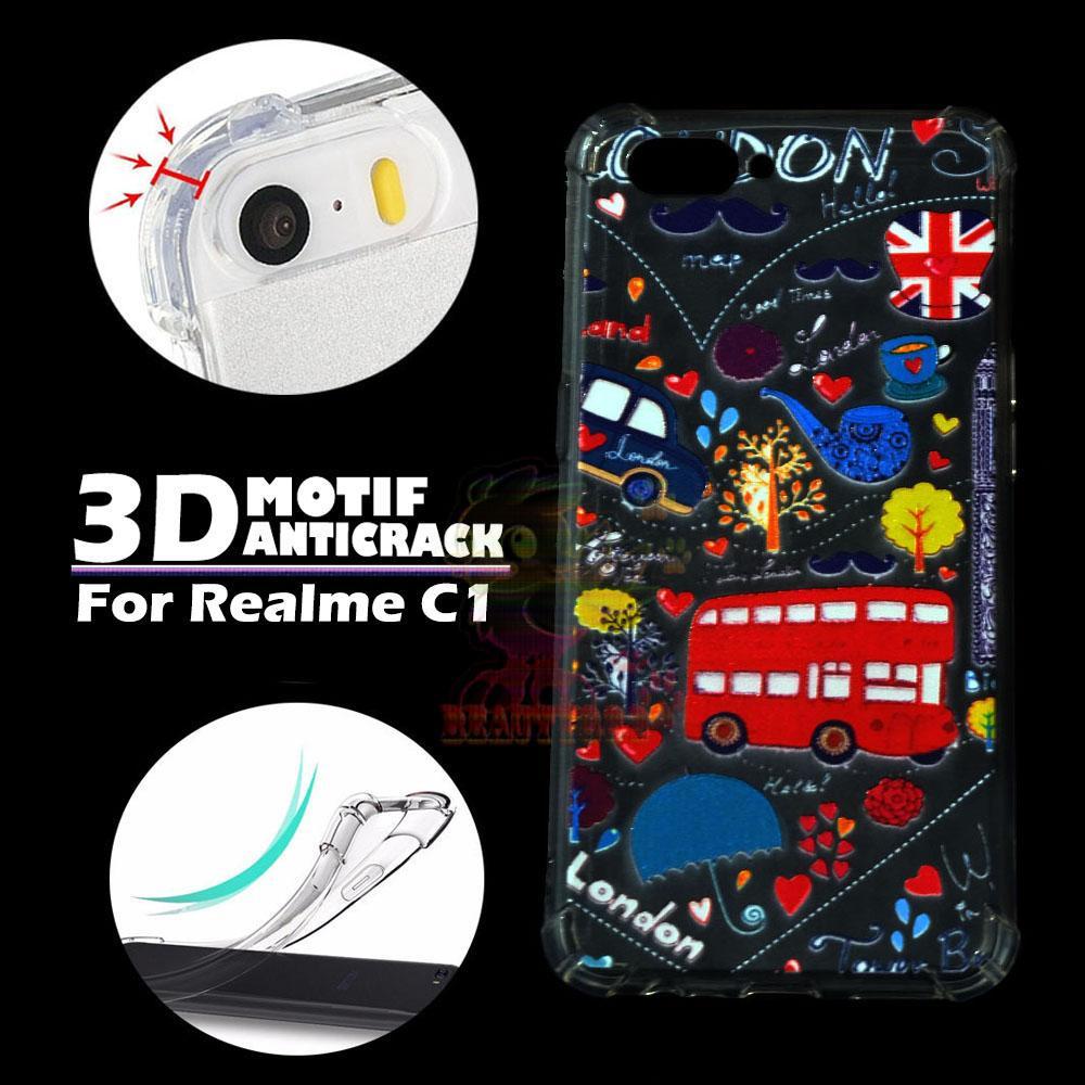 Beauty Case Anti Crack Realme C1 Case 3D Luxury Animasi Bus London Inggris Softcase Anti Jamur