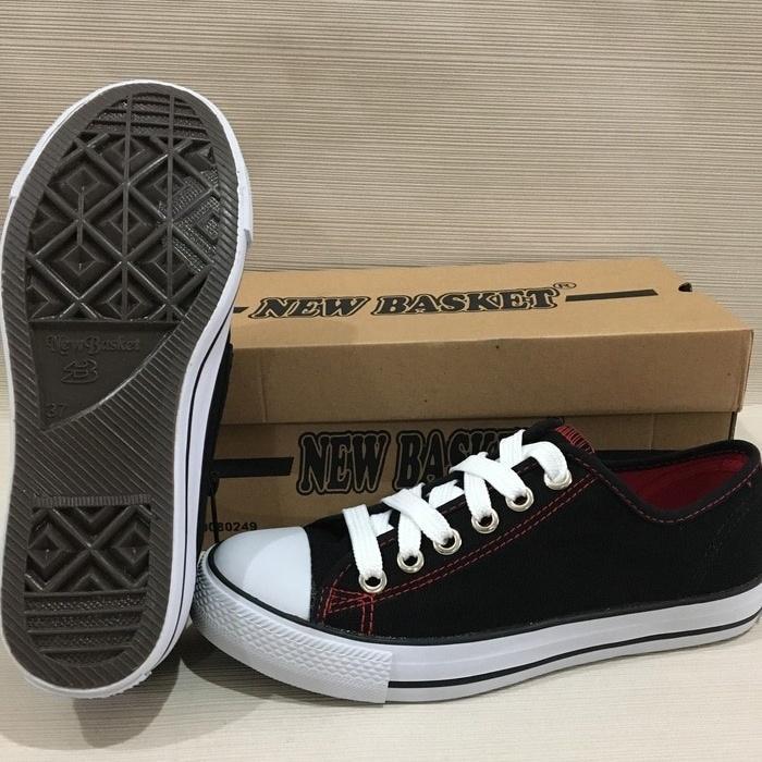Sepatu Sekolah Sneakers Anak Merk New Basket boot Pendek untuk Cewek Cowok Hitam Putih - 4