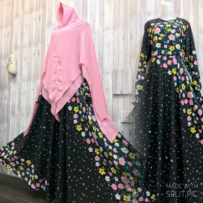 Spesifikasi Adzra Gamis Murah Syari Busana Muslim Wanita Zahira Dress Hitam Terbaru
