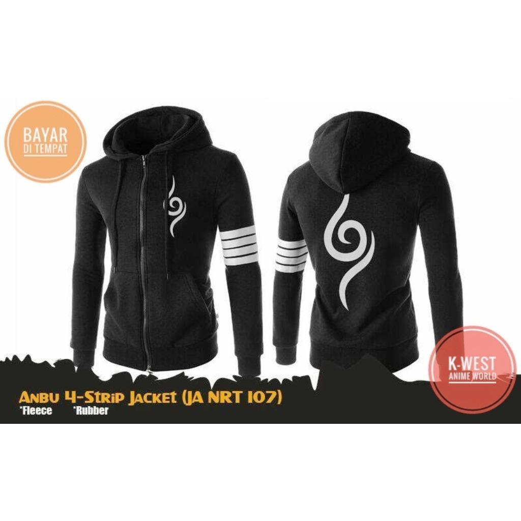 Harga Jaket Anime Cosplay Naruto Anbu 4 Stripe Black Hoodie K West Original