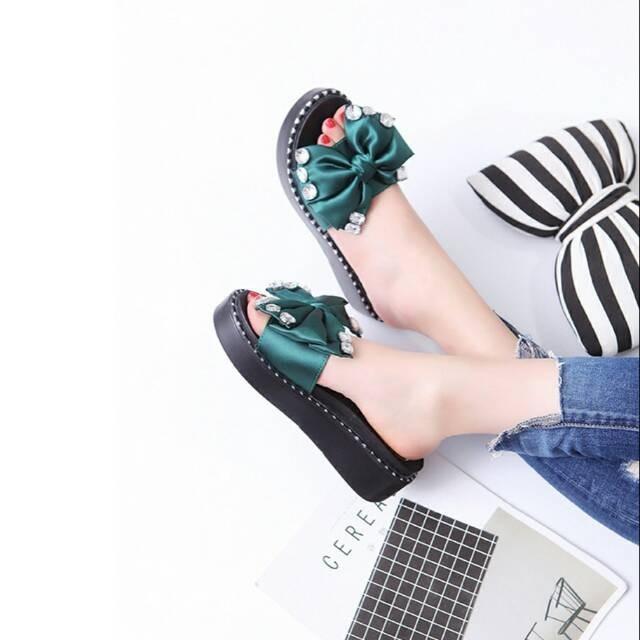 Sandal wedges pita permata hitam pink tosca cantik murah Elfan shop