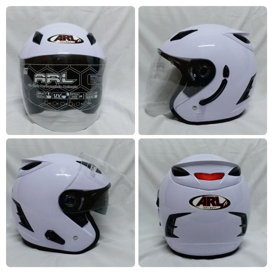 Helm ARL Centro Double Visor Putih Polos Slot Anti Thief.