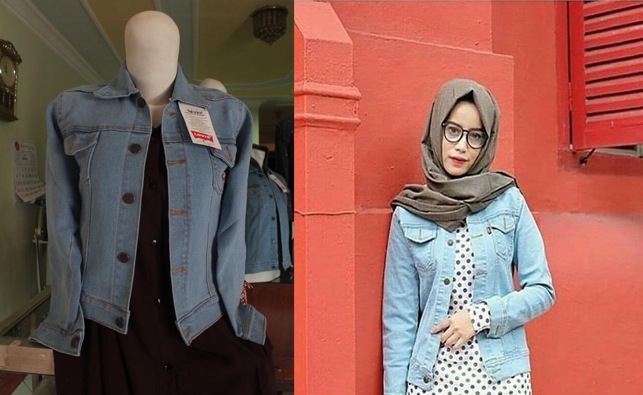 Fitur Jaket Jeans Wanita Bio Blitz Bioblitz Denim Ladis Ladies Bioblits Cewek Warna Biru Langit
