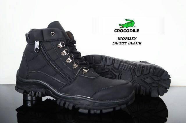 harga CROCODILE- SEPATU BOOTS SAFETY PRIA CROCODILE OUTDOOR HIKING TOURING TRACKING LAPANGAN TALI UJUNG BESI HITAM Lazada.co.id