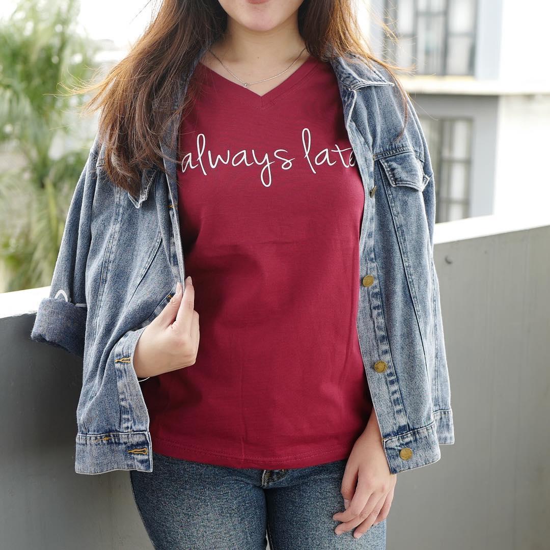 YGTSHIRT - T-shirt Baju ALWAYS LATE Tumblr Tee Cewek / Kaos Wanita / Tshirt