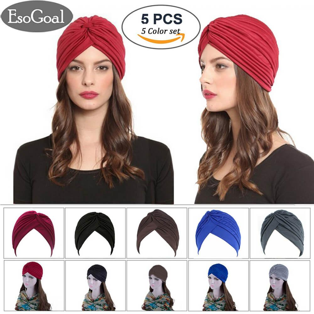 Harga Esogoal 5 Pack Twisted Pleated Stretchable Polyester Head Wrap Knit Bonnet Turban Hat Hair Wrap Cover Up Sun Cap Available In 5 Colors Asli Esogoal
