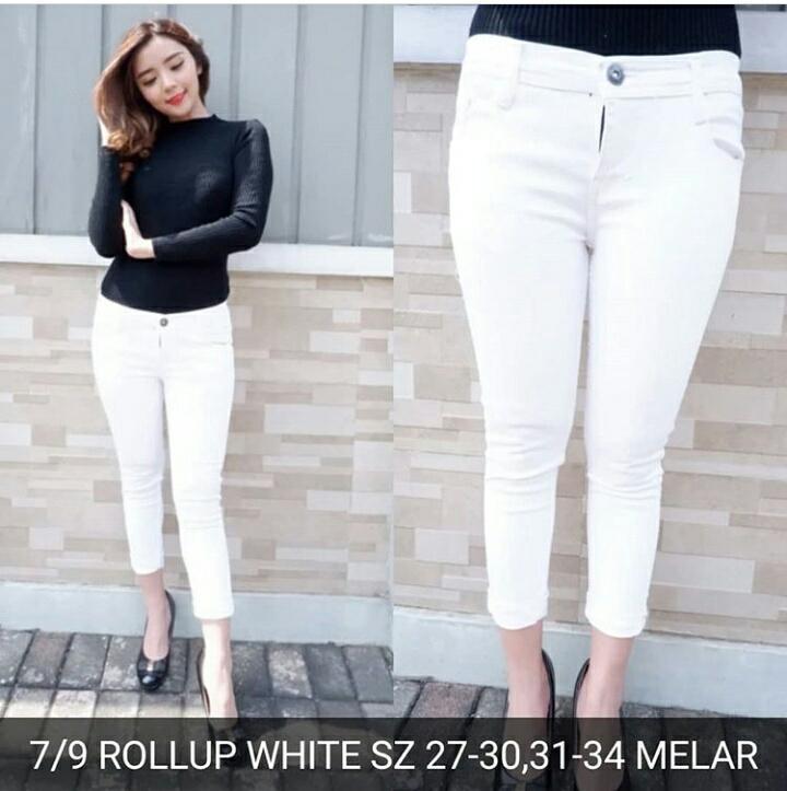 7/9 Rolled white Promo TERMURAH!! Celana panjang jeans skinny jumbo bigsize Murah