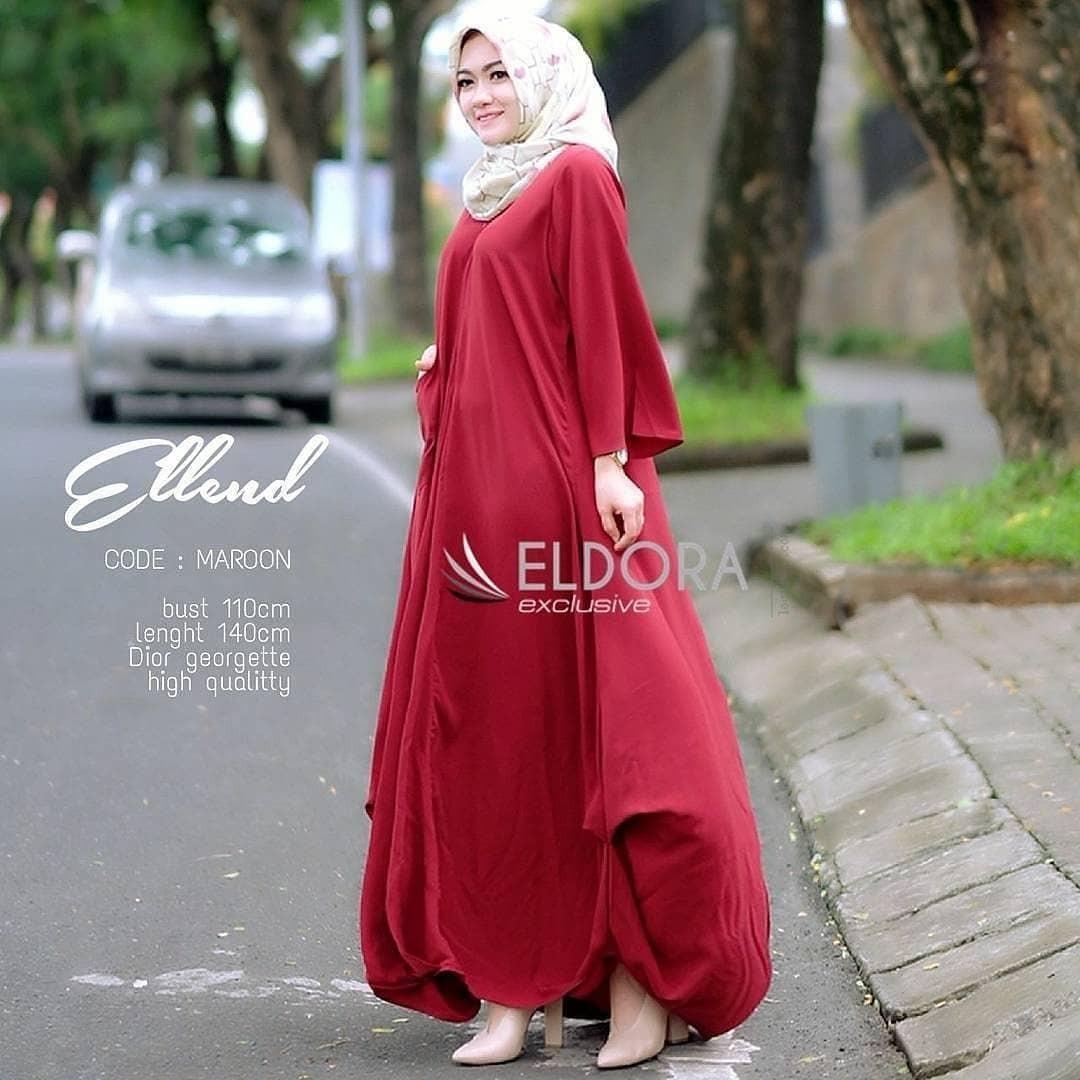 Baju Original Ellend Dress Balotely Gamis Muslim Modern Maxy Gaun Rok Panjang Wanita Muslimah Simple Trend 2018