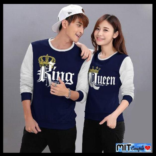 kaos couple   baju couple   sweater couple lengan panjang murah King Queen  Navy d78f769607