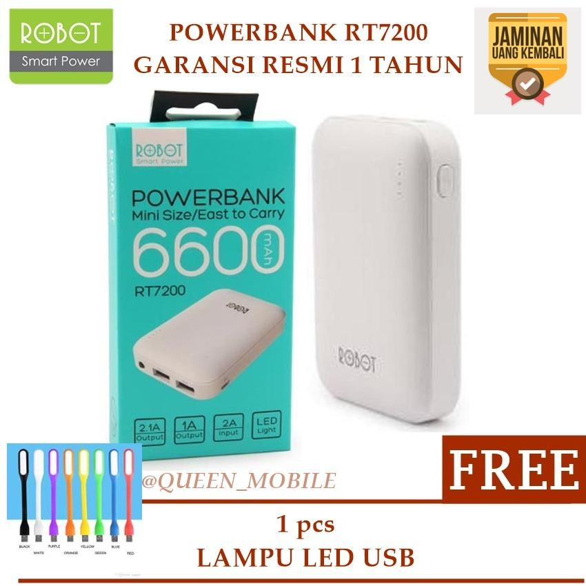 Review Robot Power Bank Rt7200 6600Mah Garansi 1 Tahun By Vivan Dual Output Putih Free Led Usb