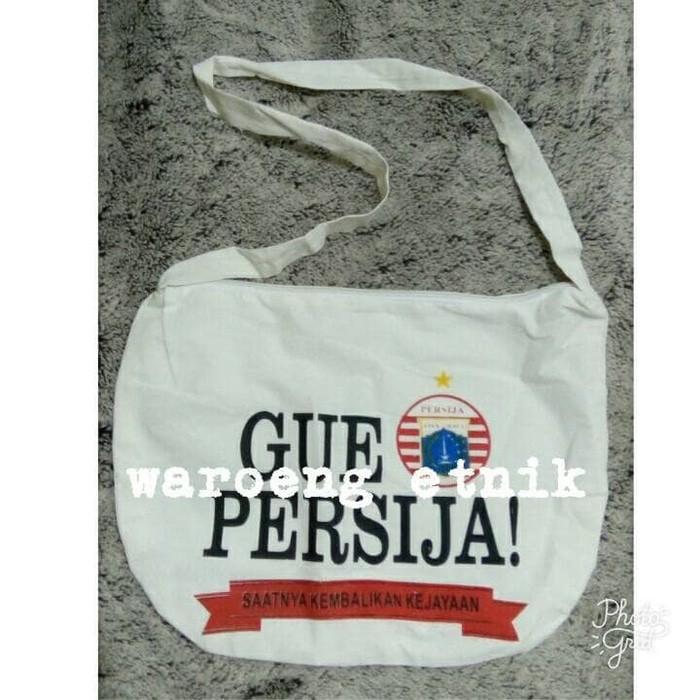 Tas Persija Bola Jakarta Selempang Kanvas Putih - 8Gqurx