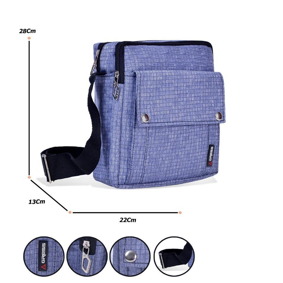 Tas Selempang Classic Canvas Gress (polo series) Messenger Shoulder Bag 9014 - 10 ZV Abu Abu