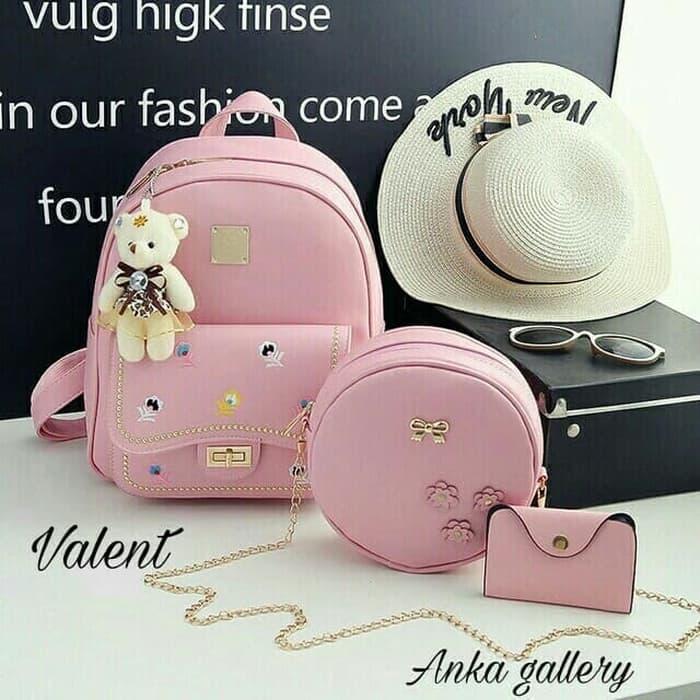 TERLARIS tas valent/tas ransel kekinian/tas wanita murah/tas backpack beranak 3 - Merah Muda - BkeXLypN - 2