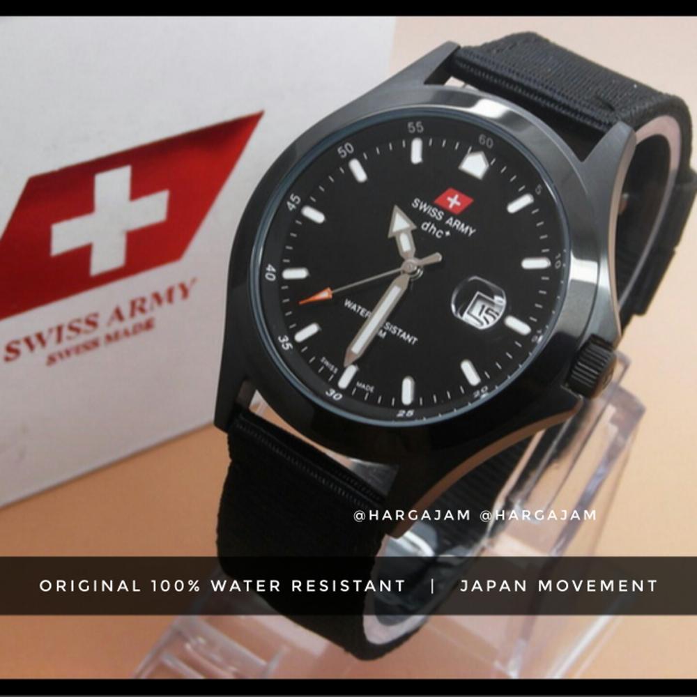 Anti Air & Original Jam Tangan Pria Swiss Army SA1881G (Hargajam Cowok Ori Water Resist Proof Renang Kanvas)