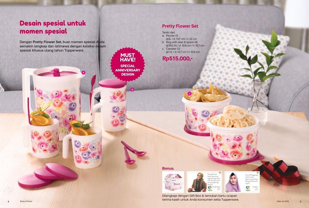 Fitur Tupperware Pretty Flower Set 7pcs Teko Gelas Toples Sendok Dan 1 Harga Terbaru November 2018