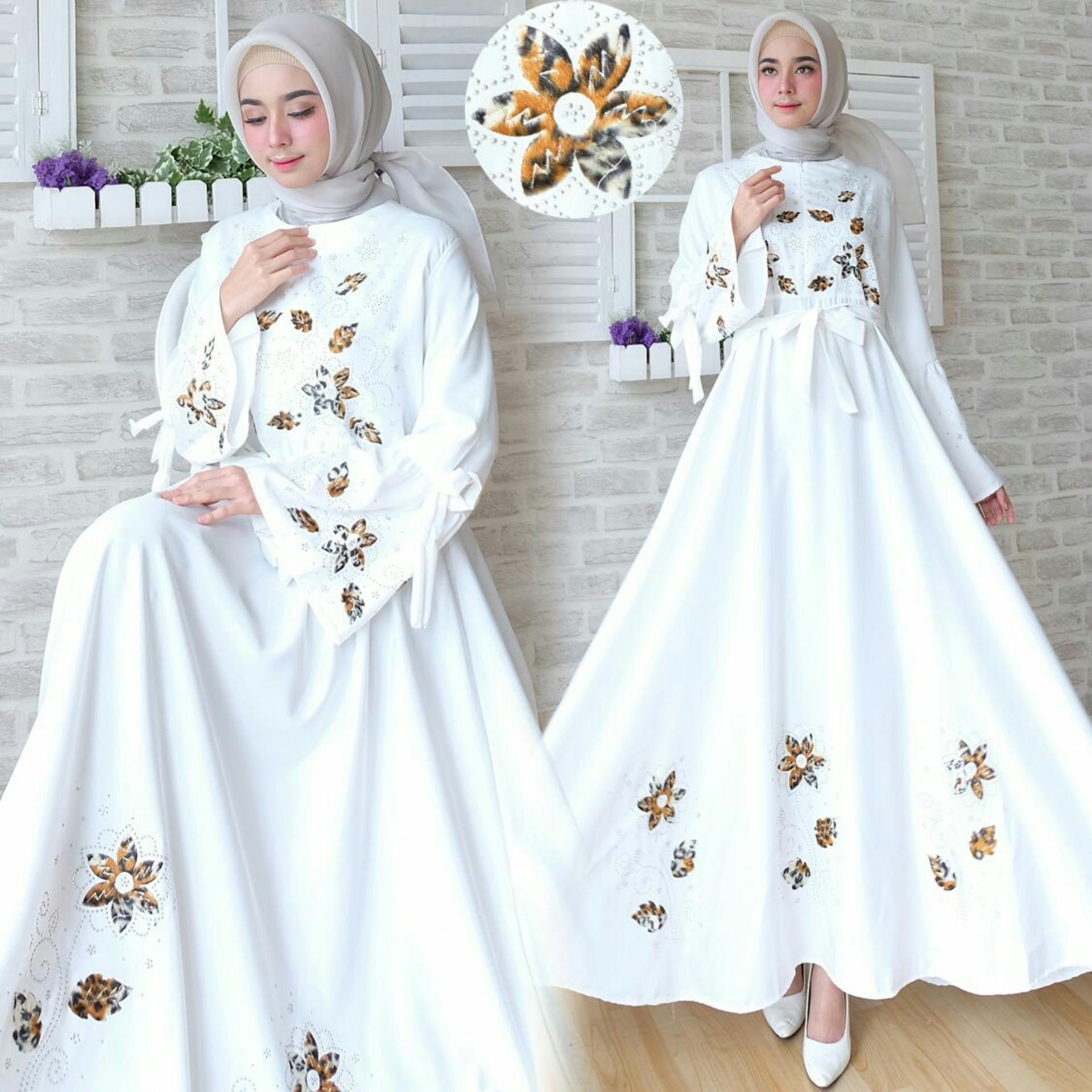 Spesifikasi Snowshop Gamis Syari Flower White Yg Baik