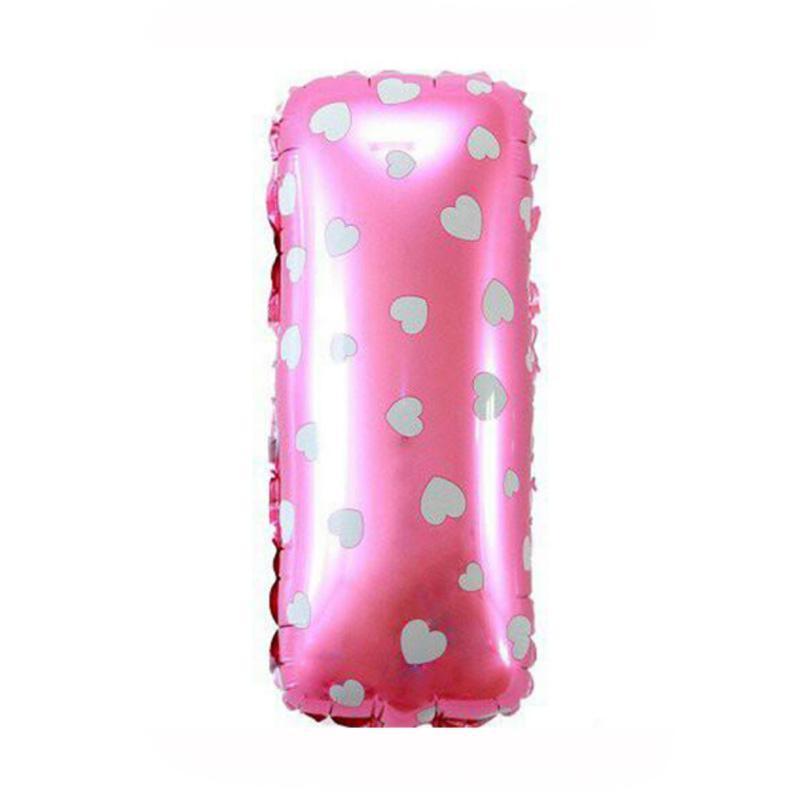 Balon Huruf Foil I - 40cm Pink Polkadot