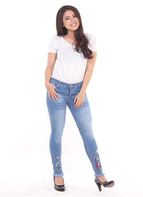 JSK Celana panjang wanita jeans rumbai bordir motif BIGSIZE