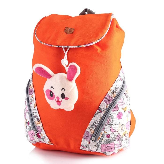 Tas Ransel Anak SD Sekolah Perempuan / Backpack Cewek Orange Canvas