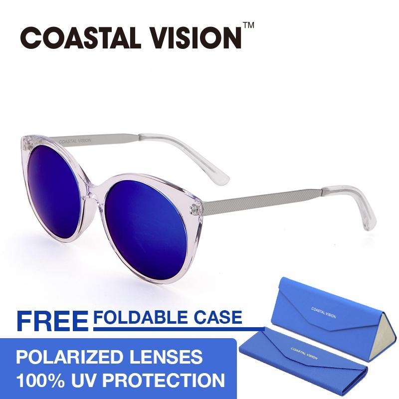 Obral Coastal Vision Kacamata Polarized Wanita Putih Cat Eye Lensa Mirror Anti Uva B Cvs5021 Murah