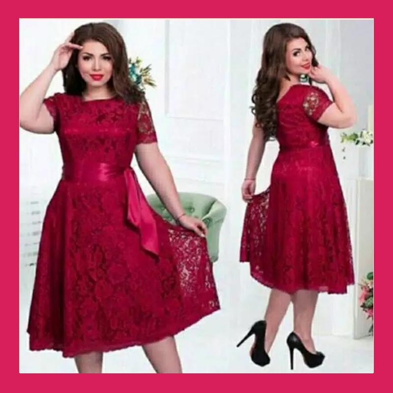 Dress Jumbo Melly / Dress Wanita Terbaru / Dress Brukat Lapis Furing / Dress Pesta Wanita