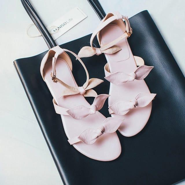 Detail Gambar Mz sandal wanita flat slop tali variasi pita Terbaru