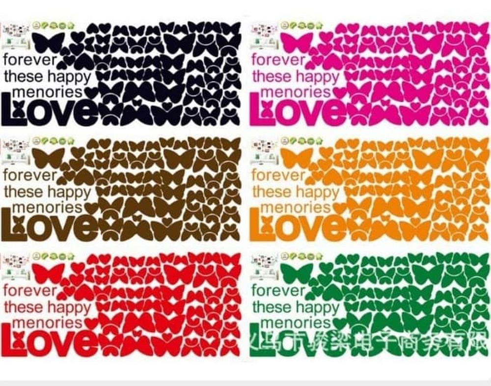 ... TOKO49 - Wallsticker Wall Sticker Kupu Kupu Love Hiasan Dekorasi Rumah - 4