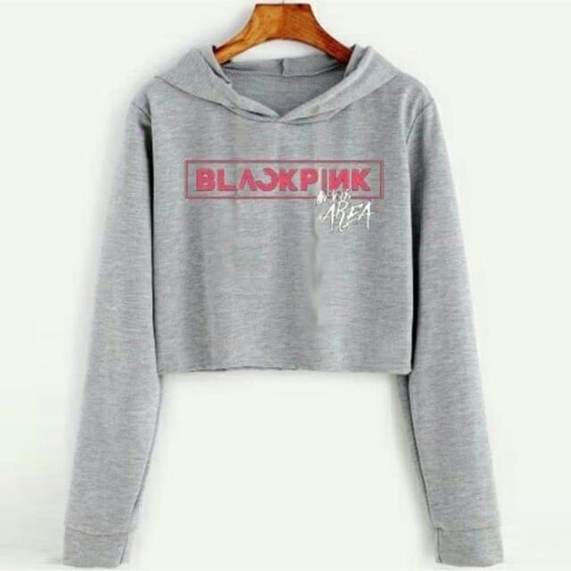 DAMAI FASHION JAKARTA - baju sweater crop hoodie WANITA BLACKPINK - konveksi