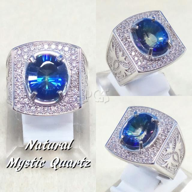 NEW Promo Perhiasan CINCIN BATU PERMATA NATURAL BLUE MYSTIC RAINBOW QUARTZ RING ALPAKA Murah