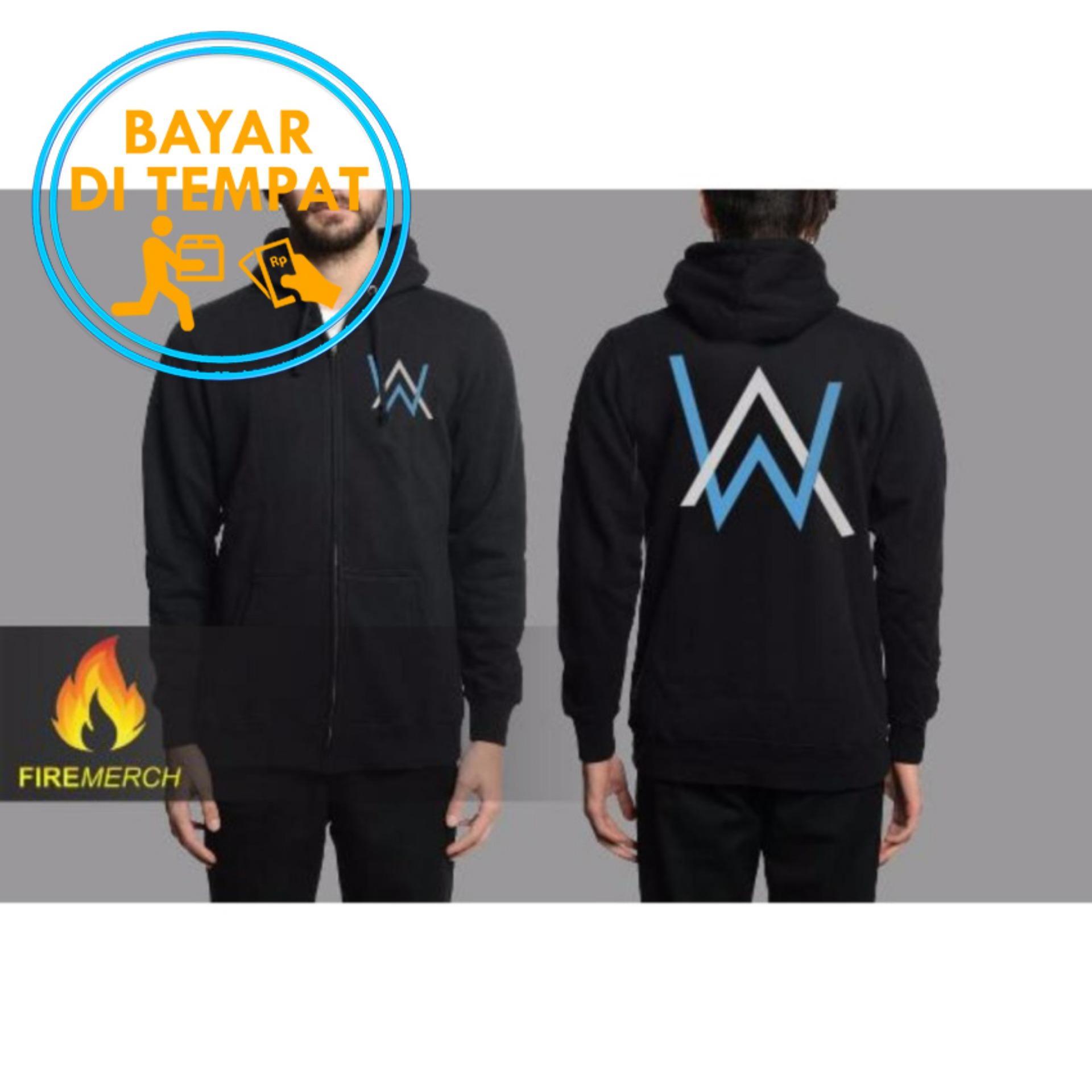 Beli Jaket Murah Hoodie Zipper Alan Walker Black Logo Blue White Online Terpercaya