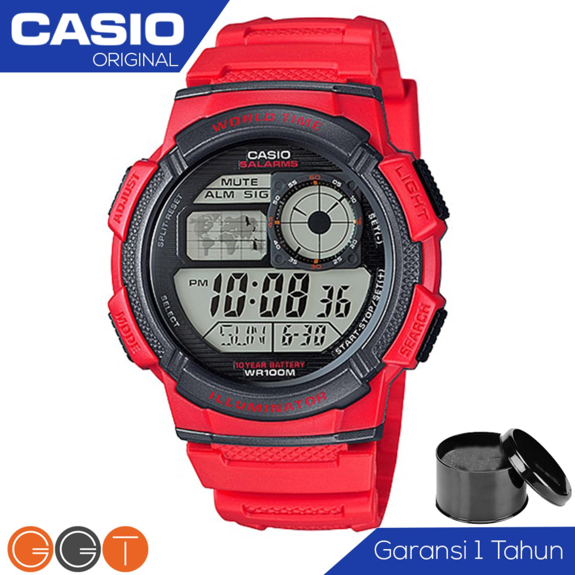 Harga Casio Illuminator Ae 1000W 4Avdf Jam Tangan Pria Tali Karet Digital Movement Red Origin