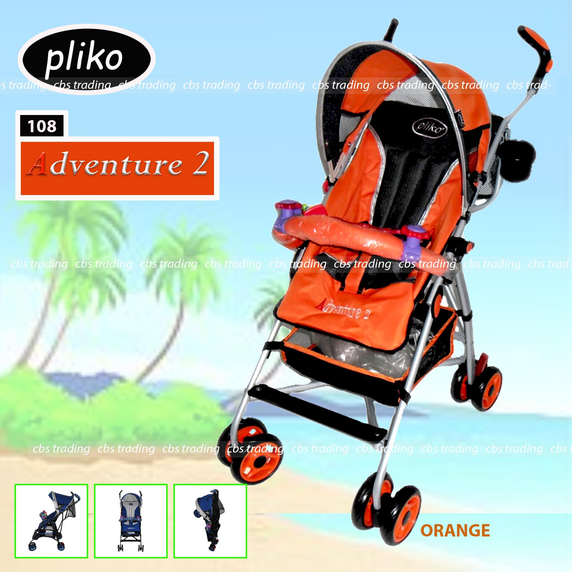 Pliko Stroller New Buggy Adventure 2 S-108 - Kereta Dorong Bayi - Orange
