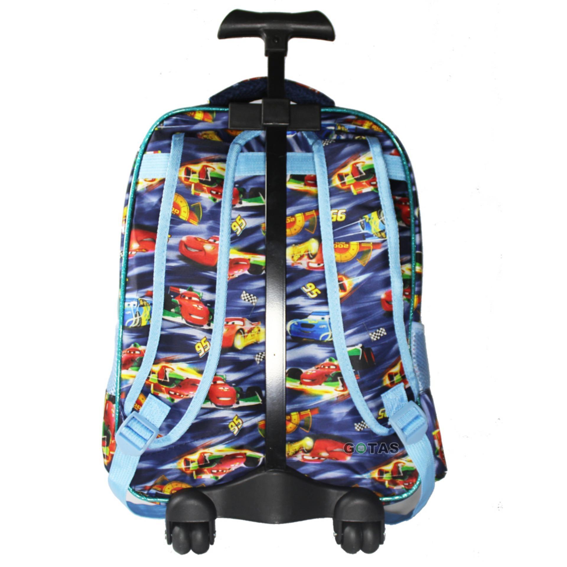 Tas Trolley Anak Sekolah Cars 7 Dimensi 3 Kantong Troli Lampu Music 4