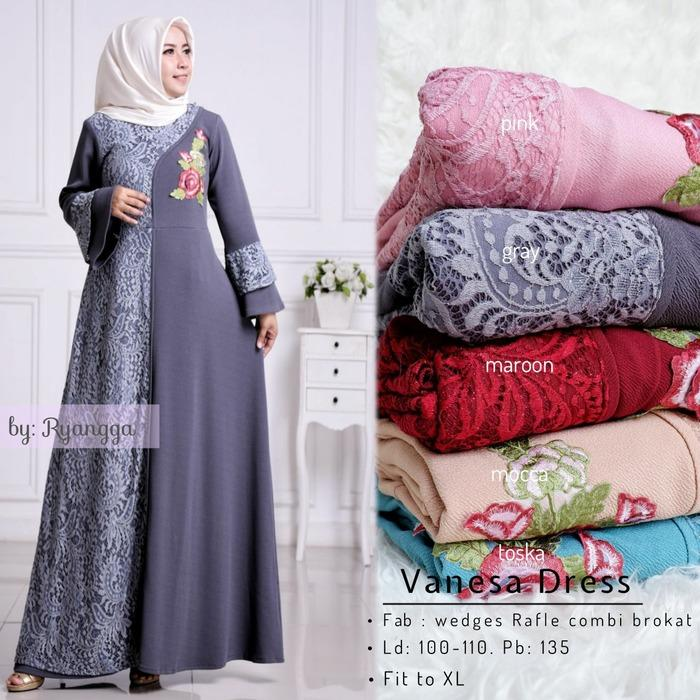 Baju Gamis Brokat Long Dress Maxi Wanita Muslim lengan Vanessa