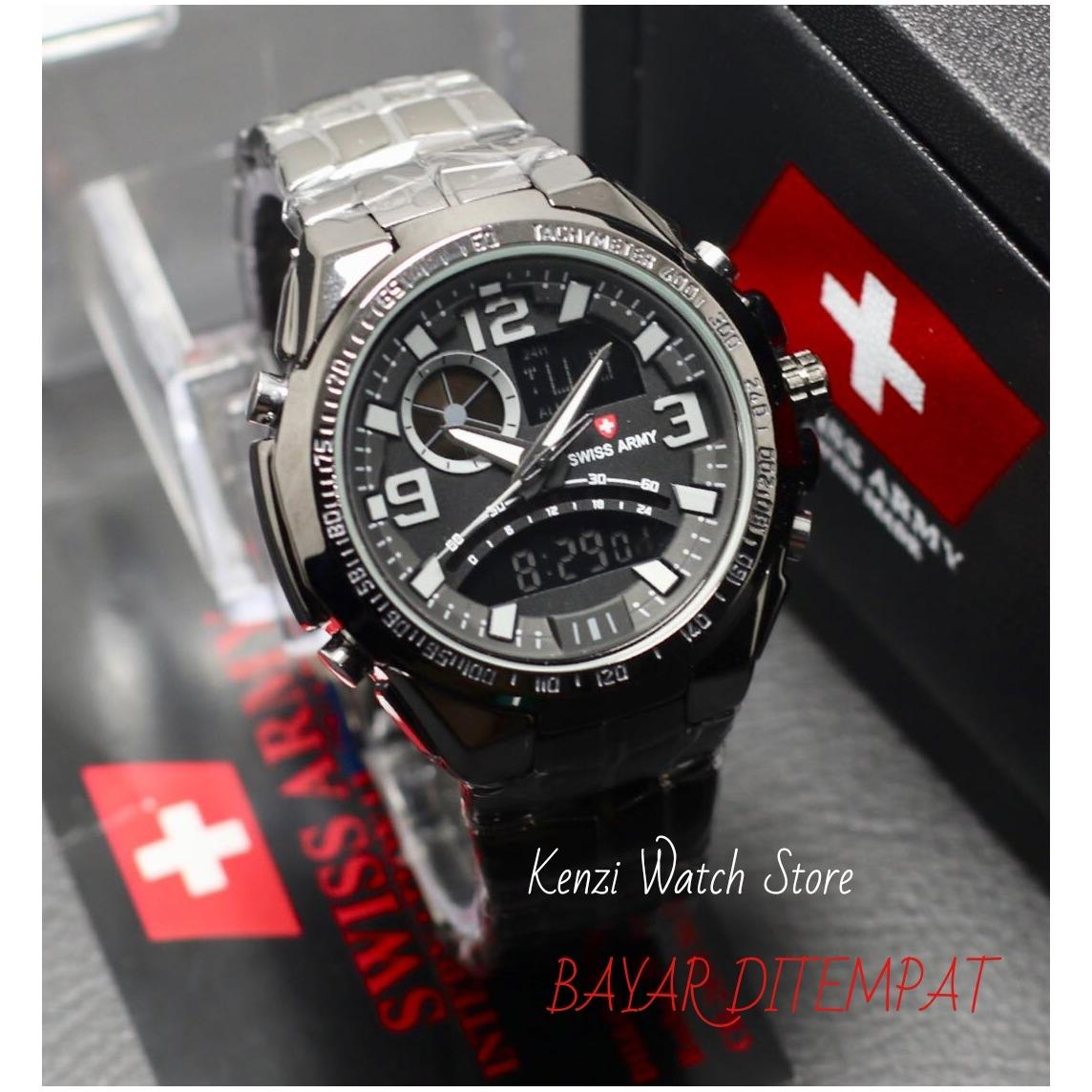 Obral Swiss Army Fashion Casual Indigo Men S Watches Free Box Swiss Army Ekslusive Fitur Dualtime Sport Formal Body Stainless Jam Tangan Pria Rantai Terbaru Murah