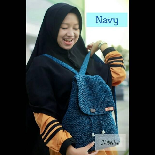 Harga Tas Rajut Ransel Navy Baru Murah