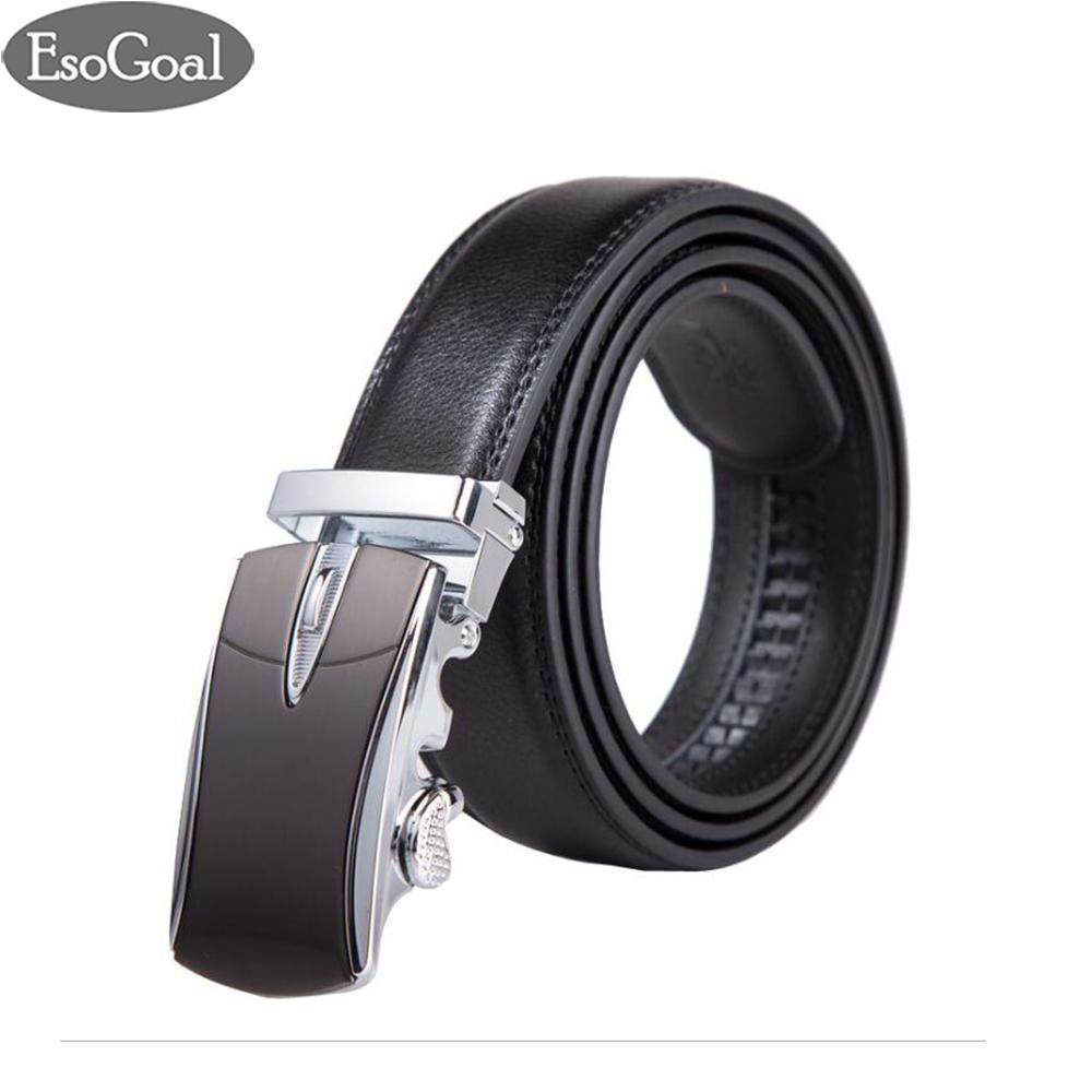 Review Terbaik Esogoal Sabuk Mens Kulit Ratchet Comfort Cilp Adjustable Automatic Sliding Buckle Sabuk Hitam Silver