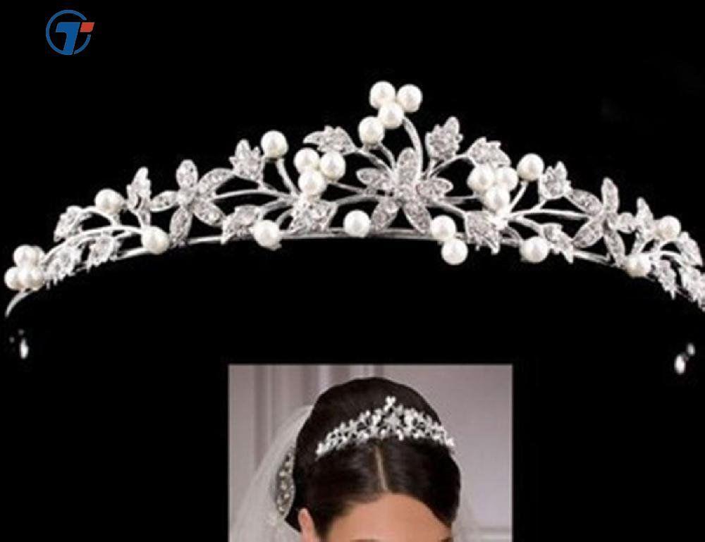 Prompernikahan Pengantin Pesta Wanita Gadis Mahkota Kristal Berlian Buatan Bando Mahkota-Intl